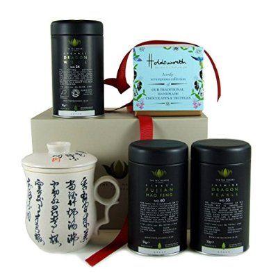 Tea Time für eine Tasse Tee-Drei beliebten Grüntees, handgefertigt Schokolade und chinesische Kalligraphie grün Geschenk-Set
