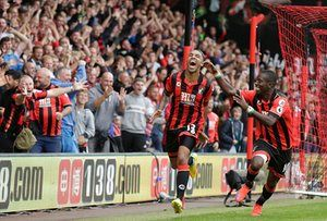 Callum Wilson celebrates scoring his winning goal with Max Gradel. Despite not scoring in almost a year, Wilson is still the Cherries' second highest Premier League goalscorer, with six to Joshua King's seven