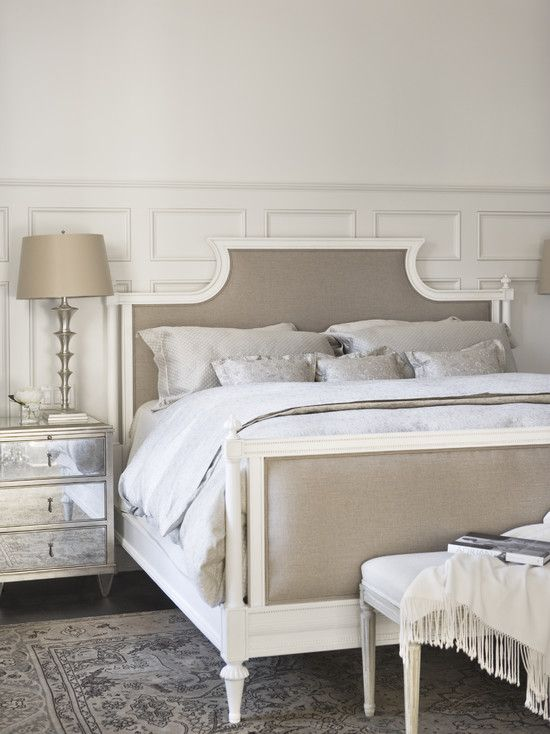 Beautiful neutral bedroom gray tan white creme linen la for Grey and neutral bedroom