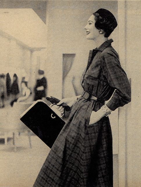 shopping for clothes    From Charm Magazine June 1955.