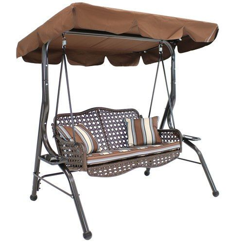 Sunnydaze 2 Person Outdoor Rattan Swing With Side Tables And Steel