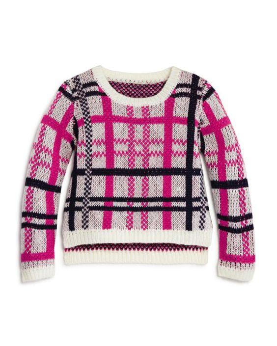 Bloomie's Girls' Plaid Sweater - Sizes 2-6X