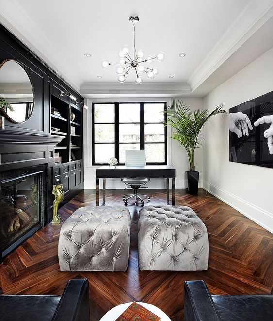 Chic Home Office With A Hint Of Hollywood Regency From The Design Co