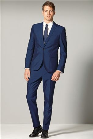 Buy Blue Stripe Skinny Fit Suit: Jacket from the Next UK online