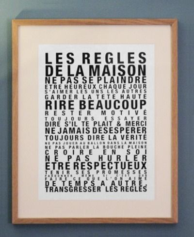 image of affiche les regles de la maison petit format mots lettres et alphabets. Black Bedroom Furniture Sets. Home Design Ideas