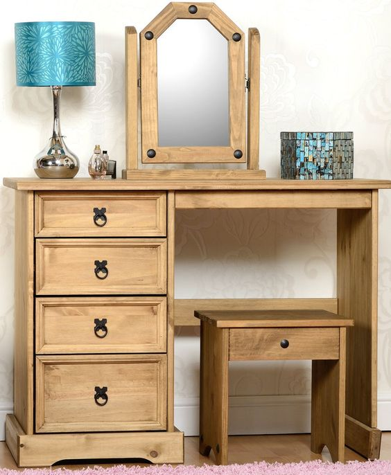 Chairs Dressing Table. Chairs Dressing Table Corona Distressed Waxed Pine  Wooden Stool Mirror Home Furniture