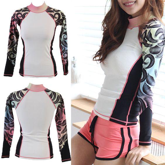Womens long sleeve stylish Rash guard Swim Shirt surf Sun Clothing UV Protection #ifnayo