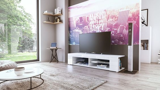 TV Board Lowboard Movie, Korpus in Weiß matt \/ Fronten in Weiß - küche hochglanz oder matt