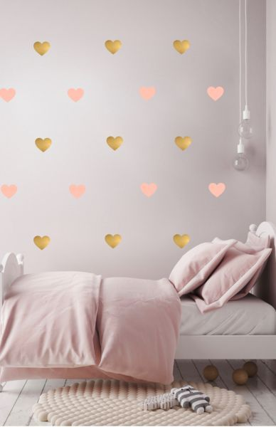 Pom Le Bonhomme Heart Wall Stickers Blush Pink Gold Girl Bedroom Walls Girls Wall Stickers Nursery Wall Stickers