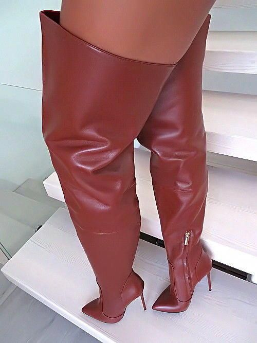 1969 MADE IN ITALY LUXURY LEATHER OVERKNEE BOOTS B168 LEDER