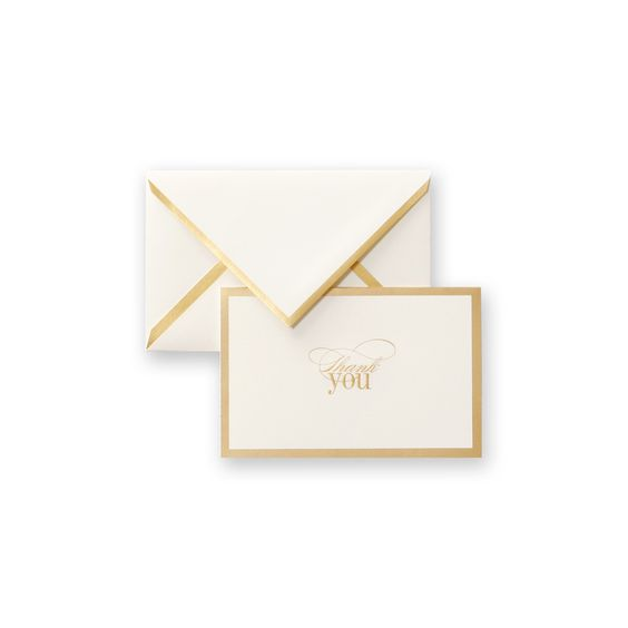 Engraved Gold Border Thank You Note: Classic Vera Wang, this thank you note pairs a thick gold border around the correspondence with a matching border on the envelope, creating a simply smashing choice for the 50th anniversary celebration and vintage romantic wedding alike. Coordinates perfectly with a matching invitation in the current On Weddings collection.