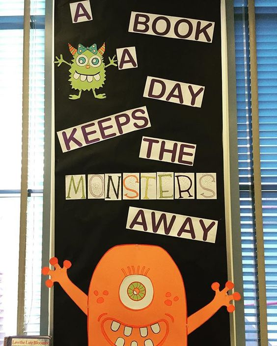 Getting the library ready for the month of October. I'm dying over the cuteness of this monster bulletin board!