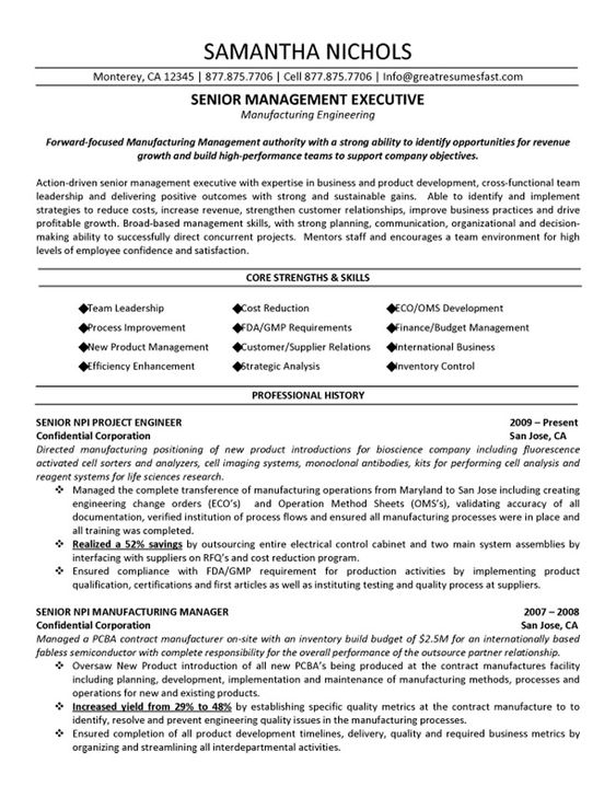 Certified Quality Engineer Sample Resume