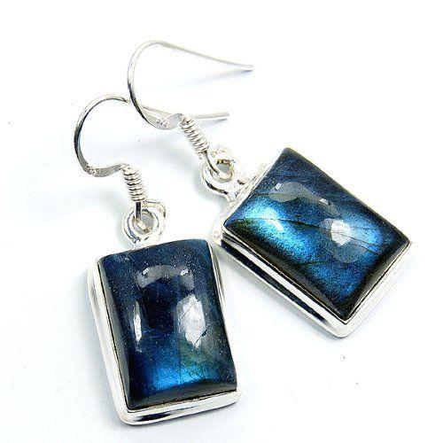 'Seductive Blue' Sterling Silver Labradorite Dangle Earrings  Price : $36.95 http://www.silverplazajewelry.com/Seductive-Sterling-Silver-Labradorite-Earrings/dp/B00EEE8I70