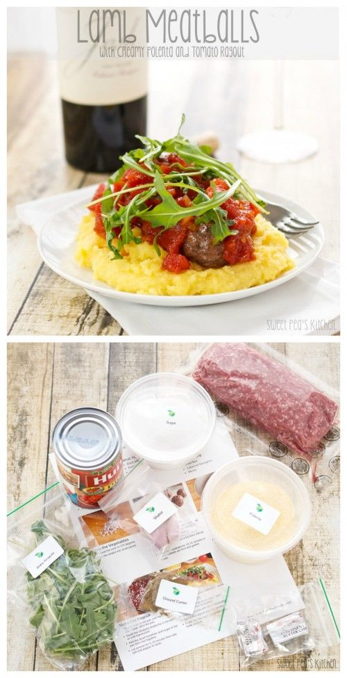 Lamb Meatballs with a sweet and tangy tomato Ragout served over creamy polenta. Quick, easy and delicious!