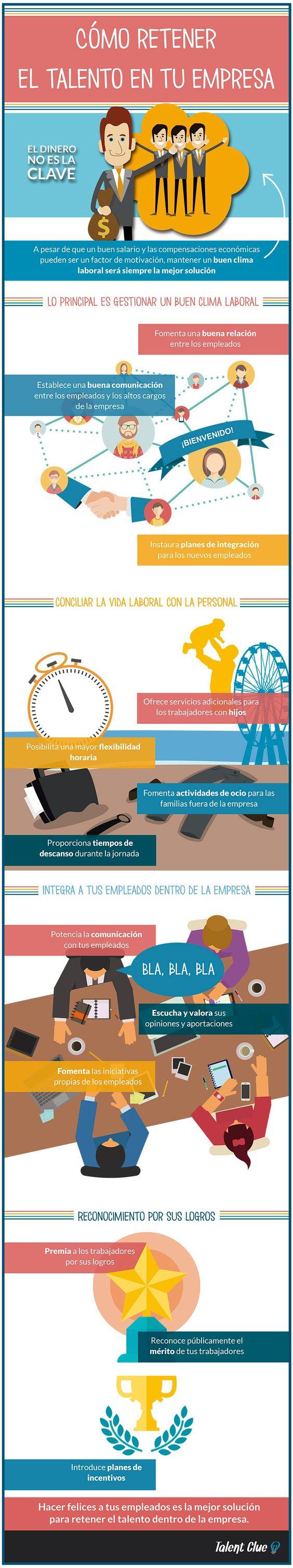 Cómo retener el talento de la empresa #infografia #infographic #rrhh Ideas Desarrollo Personal para www.masymejor.com: