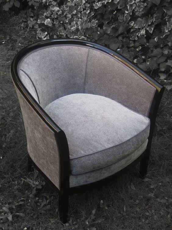 fauteuil tonneau tissu zimmer rohde patine des bois laque noire fauteuils tonneau pinterest. Black Bedroom Furniture Sets. Home Design Ideas