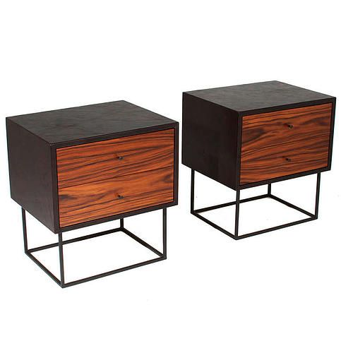 The Liss Night Stand & Side Table by Thomas Hayes Studio | Shown wrapped in Black Leather, Rosewood Drawers and Black Powder Coated Steel Base