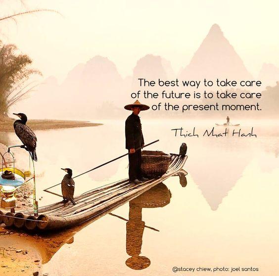 """""""A melhor maneira de cuidar do futuro é cuidar do momento presente."""" - Thich Nhat Hanh  #now #nowmaste #namaste"""