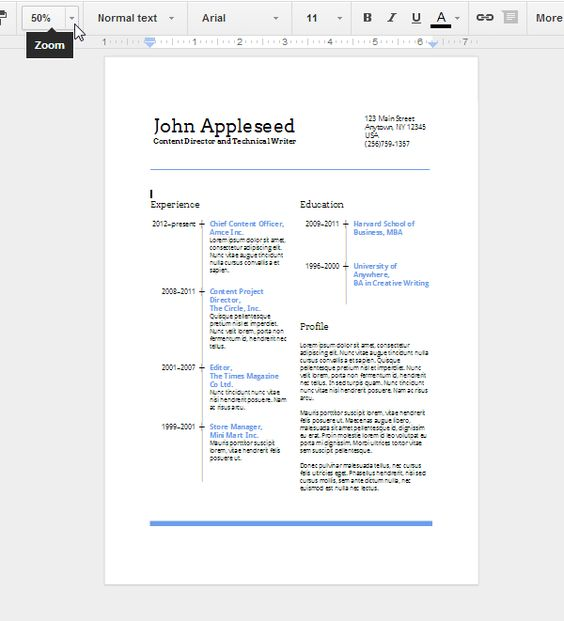 Create an Eye-Catching Resume in Google Docs Job Search - google drive resume template