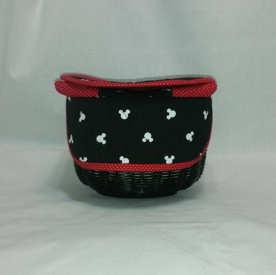 ready to ship handwoven hand quilted small bread basket mickey mouse 4 by cathykobrickdesigns