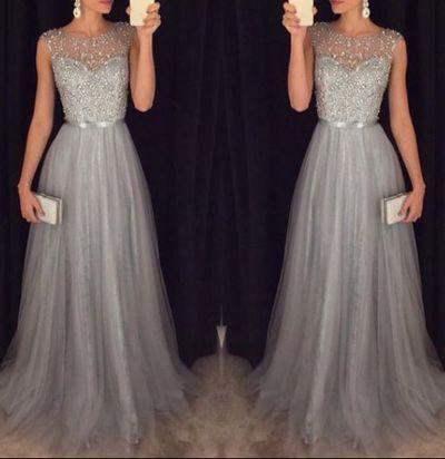 Modest prom dress long, unique beading grey prom dress for teens, plus size prom gown, plus size long evening dress 2016