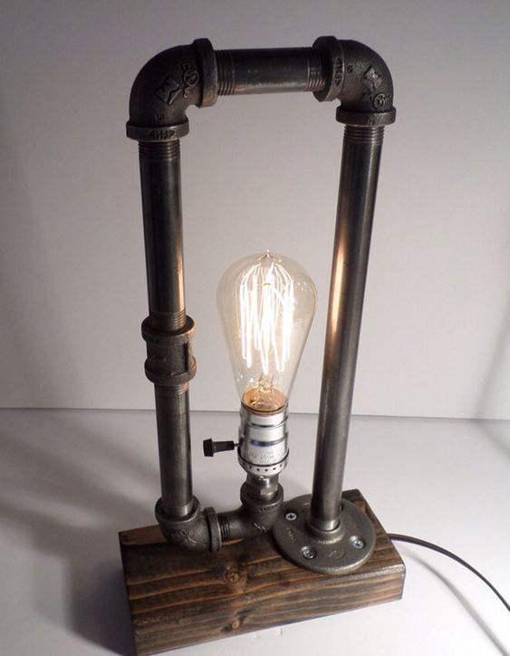 Steampunk Table Lamp : Classic edison industrial steampunk table lamp with