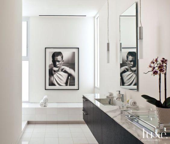 Modern simple master bathroom luxe bath powder rooms for Modern simple bathrooms