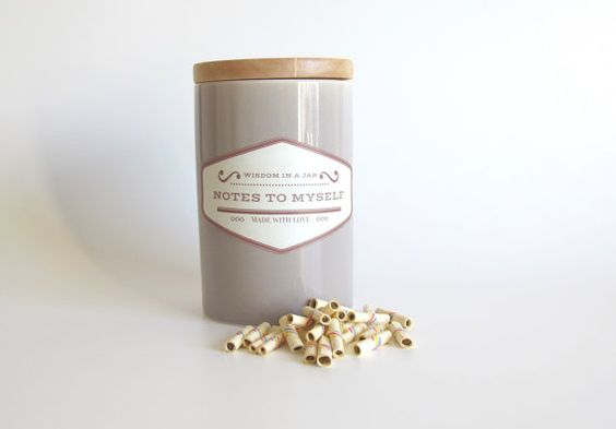 Notes to Myself - Perfect gift - The jar of true wisdom - 365 scrolls - pot