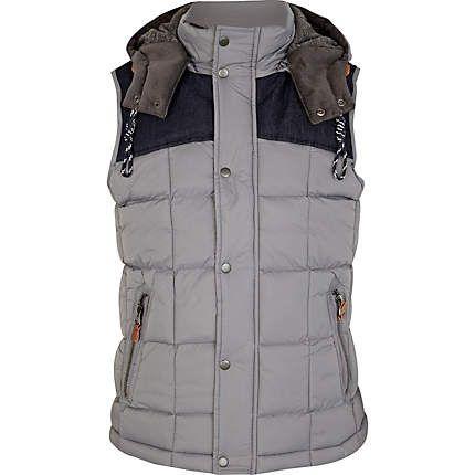Grey padded square shoulder panel gilet £55.00