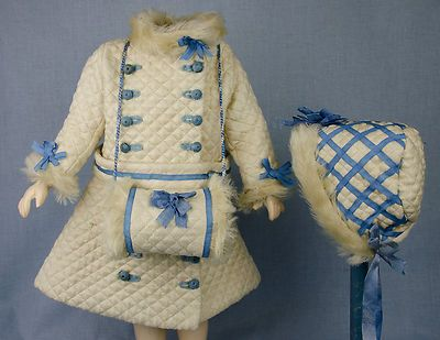 """Antique French coat/dress with matching muff and bonnet trimmed with faux fur or approximately 18"""" doll"""