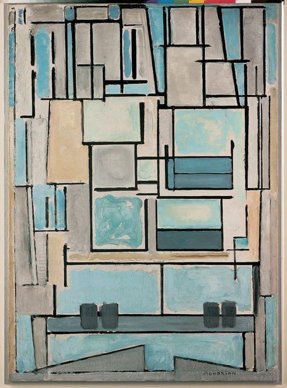 Composition No. VI Compositie 9 (Blue Front) 1914 - Dans une autre démarche, Mondrian, qui a toujours revendiqué son appartenance à la théosophie 21, affirme lui aussi que le monde matériel voile la vérité des choses. À l'inverse de la peinture illusionniste, il faut donc dépasser l'apparence extérieure, l'enveloppe exotérique, pour s'attacher à la structuration interne, c'est-à-dire à l'expression plastique des rapports qu'il traduit sous forme de traits horizontaux et verticaux de couleur…