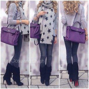 upcloseandstylish  #SaintLaurent scarf, #Vince sweater, #HM 'super skinny, super low waist' jeans, #Louboutin suede fringe 'Forever Tina' boots and #Hermès #Kelly 35 (in Ultra Violet).