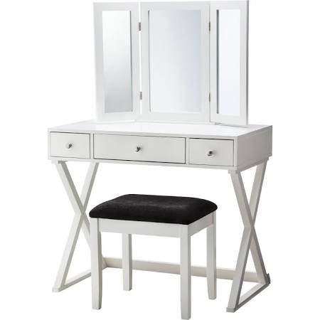 Vanity Set: Linon X-Base Vanity Set - White