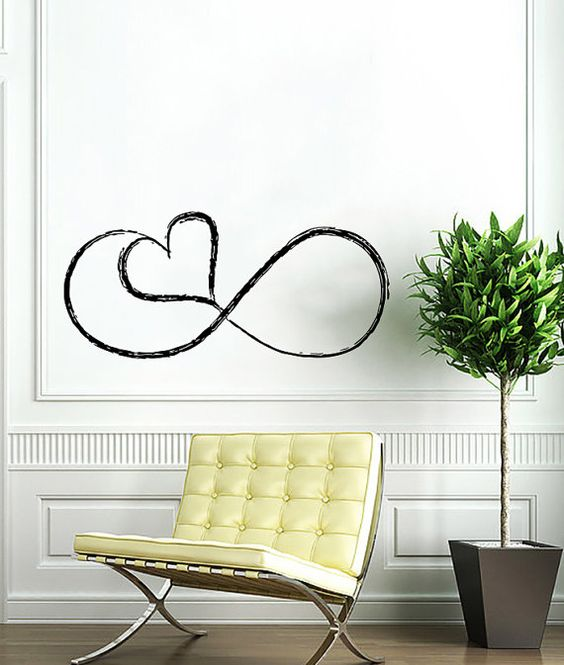love infinitely logo infinity sign heart wall vinyl decals art design mural interior home decor sticker