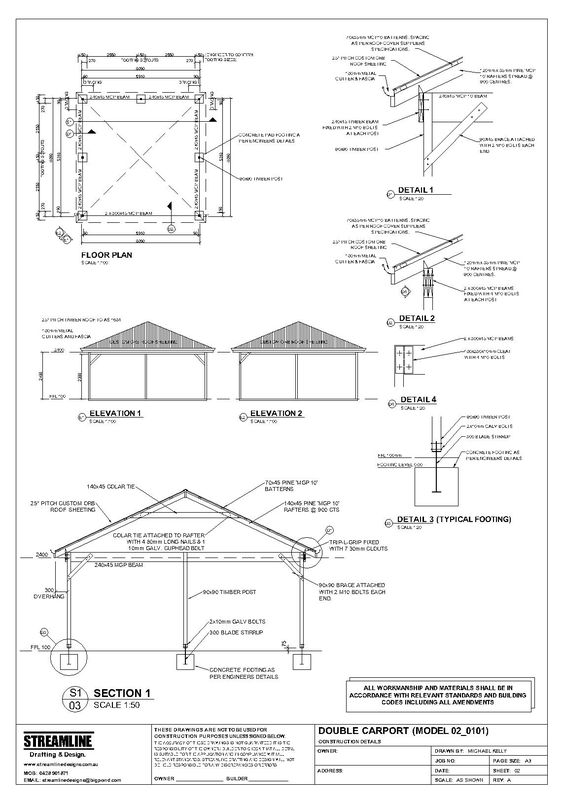 Cars detached garage and carport plans on pinterest for Free standing carport plans