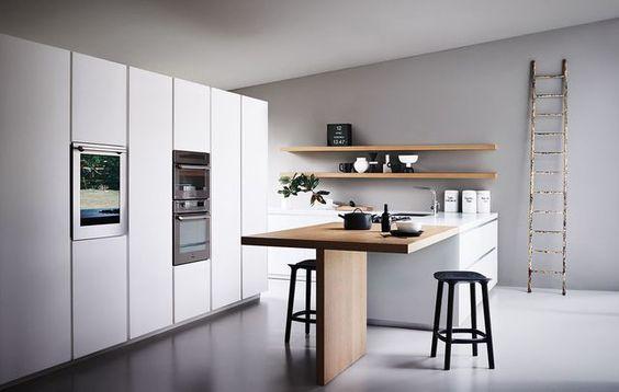 Cuisine ouverte  15 modèles de cuisiniste Tables, Cuisine et Soie - Table De Cuisine Avec Plan De Travail