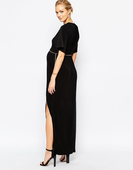 Image 2 of Club L Maternity Plunge Front Maxi With Chain Detail