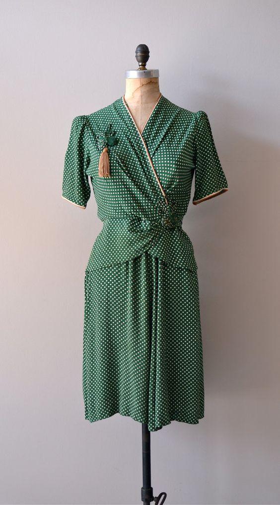green 40s dress