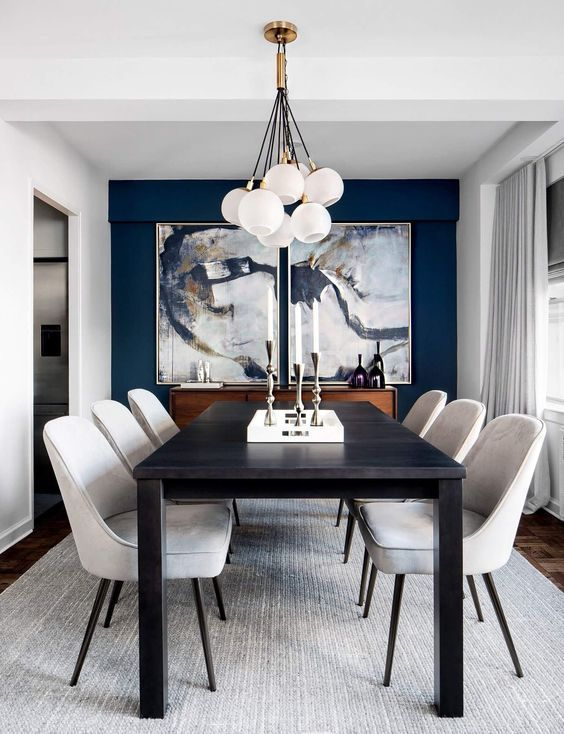 Golden Lighting Design Ideas For Modern Luxury Homes Small Dining Room Decor Black And White Dining Room Dining Room Blue Black dining room lighting small