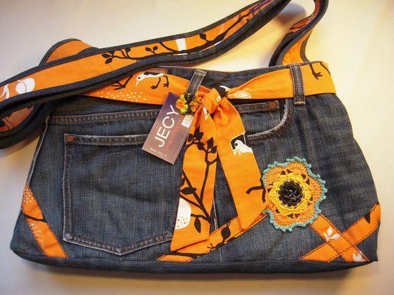 Tasche orange/schwarz gemustert und Jeans von jeans-recycling auf DaWanda.com