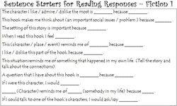 Sentence Starters for Reading Response