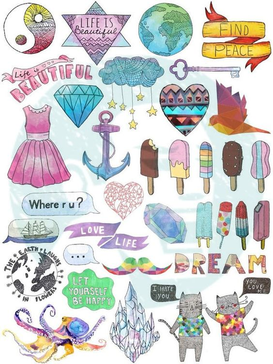 Set 40 Tumblr Stickers Of By