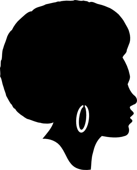 Free Woman Silhouette Clip Art | Black Female Afro ...
