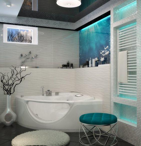 Bad mit kleinem Fenster weiß türkis #deko #dekoration ...