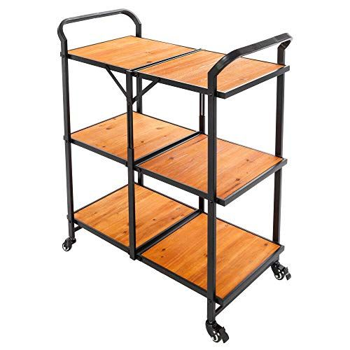 Azamon 3 Tier Black Wood Color Folding Kitchen Trolley Cart Rolling Serving Dining Storage Kitchen Trolley Cart Wood Storage Shelves Kitchen Storage Trolley