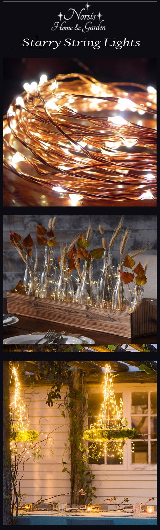 Copper String Lights Ideas : Thanksgiving Inspirations with Norsis LED Copper Wire Starry String Lights w/ Remote. Dimmable ...