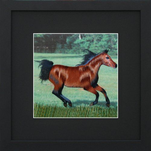 Susho, King Silk Art 100% Handmade Silk Embroidery - Chestnut Horse Gait - Black Mat Framed Medium Size 34058BF... $49.98 (save $90.00)