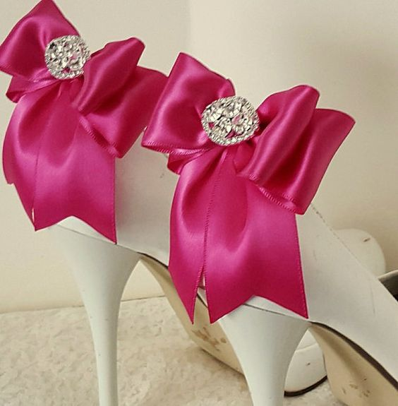 Wedding Shoe ClipsBridal Clips Rhinestone ClipsMagenta MANY COLORS Bow For Shoes Bridal By ShoeClipsOnly On