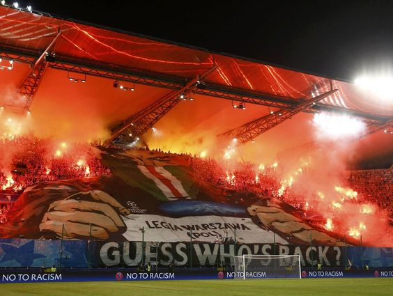 Legia Warsaw fans unveil grim tifo ahead of Dortmund clash